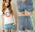 1pc Retro Style Women Light Blue High Waist Flange Hole Wash Jeans Denim Shorts