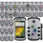 For ZTE Savvy Z750C IMPACT HYBRID Rubber HARD Protector Case Cover Phone + Pen