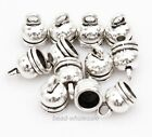 20pcs Antique Silver Tone Round Top Caps Jewelry Findings  6mm