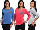 Womens V Neck ¾ Sleeve Pocket Pattern Tshirt Ladies Classic Fit Casual Top # 125