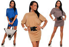 Womens Trendy BAT Styled Belted Mini Dress Boat Neck Batwing Kimono Tunic # 227