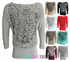 Womens Plus Size Long Sleeve Tiger Animal Print Baggy Batwing Top 10-28