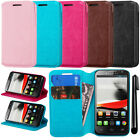 For Alcatel One Touch Evolve 5020T Wallet LEATHER POUCH Case Cover Phone + Pen