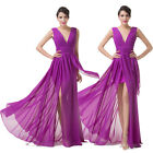 New Long Chiffon V-Neck Bridesmaid Formal Party Evening Dress Cocktail Gown 6-20