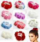 U PickFlower Bun Garland Floral Head Knot Hair Top Scrunchie Band Elastic Bridal