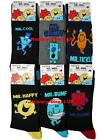 6 Mens Mr Men 100% Official Cartoon Novelty Character Socks / UK 6-11