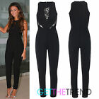 Womens Ladies Celeb Inspired Black Lace Crew Neck All In One Jumpsuit Playsuit