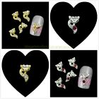 10Pcs Glitter Rhinestone Diamond Little Fox 3D Metal Nail Art Slice Decorations