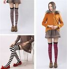 Women's Fancy Dress Over Knee Long Stripe Print Thigh High Striped Socks -LA