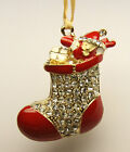 NOVELTY Christmas Tree Ornament Decoration Gold tone SANTAS with rhinestones