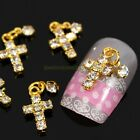10/50X Glod Alloy Metal Cross w/ Clear Glitter Rhinestone Dangle Nail Art Decors