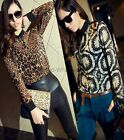 Women's Leopard/Circle Chiffon Shirts Long-sleeve Blouses See-through Tops Tees