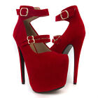 Red Ankle Cuff Strap Strappy Mary Jane Platform Stiletto High Heel Pump Shoes US