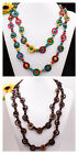 "Handmade Coconut Shell Wooden Round Beads Long Necklace 52""L More Colors Options"