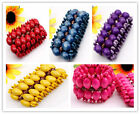 NEW Handmade Wooden Drum Beads Brass Carved Beads Bracelets 5 Colors 6 Options