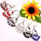 Bohemian Assorted Mixed AB Crystal Glass Faceted Beads Hoop Earrings 7 Options