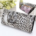 Women Tiger Leopard Print Long Wallet Purse Coin Bag Card Holder Handbag Clutch