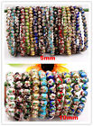 Handmade Cloisonne Enamel Round Beads Stretch Bangle Bracelet 10mm/5mm Options