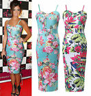 NEW WOMENS CELEBRITY SIZE 6-18 FLORAL LADIES BODYCON MIDI COCKTAIL EVENING DRESS