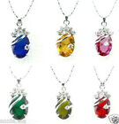 Exquisite Silver Oval Silver Pendant Necklace 6 colors