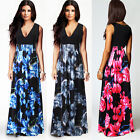 NEW Ladies V Neck Maxi Dress Summer Long Skirt Evening Cocktail Party TOP 8Sizes