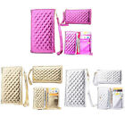 Luxury Thick Leather Grid Wallet Flip Case Cover For Samsung Mobile Phone LPBT