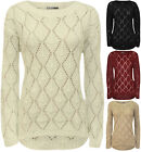 New Womens Crochet Knitted Long Sleeve Round Neck Ladies Dip Hem Top Jumper 8-14