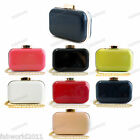 BLACK CORAL NUDE RED GREEN NAVY Faux Leather Hard Case Box Clutch Bag #1485