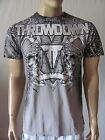 New THROWDOWN Mens Grey Casual Crew Graphic Printed Guardian S/S Tee Shirt $28