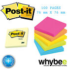 3M POST-IT NOTE PAD 76x76mm (3inx3in) 100 SHEETS per STICKY NOTE PAD 6 COLOURS!