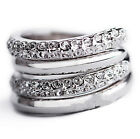 18k White Gold Plated Swarovski Crystals Wedding Bridal Twisted 2 Ring Set R182