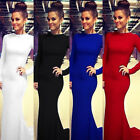 Womens Long Sleeve Sexy Long Formal Ball Cocktail Prom Party Dress Evening Gown