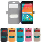 Slim Dual View Flip PU Leather Cover Case for LG Google Nexus 5 NEW