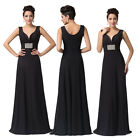 NEW Black Formal Long Ball Gown Party Prom Bridesmaid Evening Dress UK Size 6-20