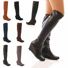LADIES WOMENS LOW WEDGE STRETCH BOOTS ELASTIC LONG LEG ZIP UP SHOES SIZE