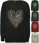 New Womens Animal Heart Diamante Long Sleeve Jumper Ladies Top Sweatshirt 8 - 14