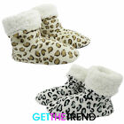 Womens Leopard Animal Fleece Winter Slipper Boots Ladies House Warm Slip Ons