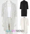 Womens Check Plaid Plain Duster Coat Ladies Open Front Oversized Long Blazer