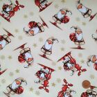 CREAM cute santa Christmas fabric 100 % cotton per fat quarter/half metre craft