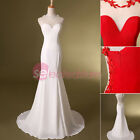 White/Red Sheer Sweetheart Long Homecoming Formal Dresses Bridal Evening Sheath
