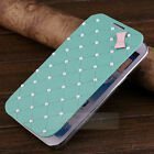 Luxury Cute Pearl Leather Flip 3D Bow Case Cover for Samsung Galaxy Note 2 N7100