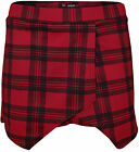 New Womens Tartan Checked Print Asymmetric Ladies Mini Skirt Shorts Skort 8 - 14