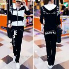 2pcs New Womens Hoodie Suit Sport Coat Tops Pants Tracksuit Sweatsuit Sweatpants
