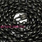 HANDCRAFT 7mm ROLO Chain Never Fade IP Black 316L Stainless Steel Necklace