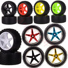 """Set RC 1:10 Off Road Buggy Knobby Tires With 5 Spoke 2.2"""" Wheel Rims HSP Redcat"""