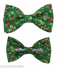 Green / Red Christmas Theme Clip On Bow Tie Men / Boys