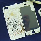 White+Gold Print Quality Real Tempered Glass Film Screen Guard for iPhone5 5S