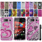 For Motorola Droid Razr Maxx HD XT926M DIAMOND BLING HARD Case Phone Cover + Pen