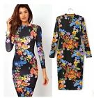 Women Floral CHEONGSAM Chinese Bodycon Backless Party Cocktail Knit Pencil Dress