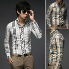 TOPS STYLE Men's Long Sleeve Button-Down Casual Formal Plaid Shirt NWT XS S M L